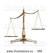 Royalty Free Stock Illustration of a Brass Weight Scales of Justice off Balance, Symbolizing Injustice, over White by Anastasiya Maksymenko