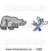 Royalty Free Stock Illustration of a Brave Blue Man Holding a Stool and Whip While Taming a Bear, Bear Market by Leo Blanchette