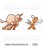 Royalty Free Stock Illustration of a Brave Orange Man Holding a Stool and Whip While Taming a Bull, Bull Market by Leo Blanchette