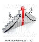 November 11th, 2013: Royalty Free Stock Illustration of a Bright Chrome and Red Bar Graph Chart by 3poD