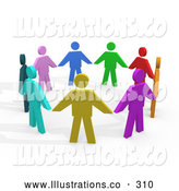 Royalty Free Stock Illustration of a Bright Colorful Circle of Diverse People Holding Hands, Symbolizing Teamwork and Unity by 3poD