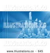 Royalty Free Stock Illustration of a Bright Curve Winding Through a City Skyline with Skyscrapers, Pollution, Renewable Energy, Communications by AtStockIllustration