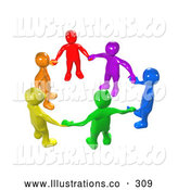 Royalty Free Stock Illustration of a Bright Diverse Circle of Colorful People Holding Hands, Symbolizing Teamwork, Friendship, Support and Unity by 3poD