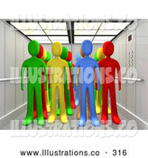 Royalty Free Stock Illustration of a Bright Diverse Group of Colorful People in an Elevator by 3poD