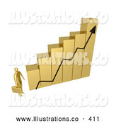 November 11th, 2013: Royalty Free Stock Illustration of a Bright Gold Businessman Carrying a Briefcase and Staring up at a Big Golden Bar Graph Chart, Symbolizing Intimidation or Desiring to Be Successful by 3poD