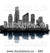 Royalty Free Stock Illustration of a Bright Illuminated City at Night on the Waterfront with the Skyscraper Office Buildings Reflecting in the Water by AtStockIllustration