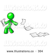 Royalty Free Stock Illustration of a Bright Lime Green Man Dropping White Sheets of Paper on a Ground and Leaving a Paper Trail, Symbolizing Waste by Leo Blanchette