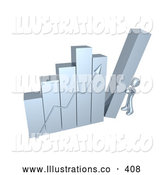 November 11th, 2013: Royalty Free Stock Illustration of a Bright Silver Person Pushing up the Last Column on a Bar Graph Chart, Symbolizing Effort and Success by 3poD