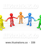 Royalty Free Stock Illustration of a Bright Support Group of Colorful and Diverse People Holding Hands and Standing in a Circle by 3poD