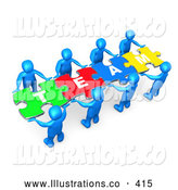 "November 11th, 2013: Royalty Free Stock Illustration of a Bright Team of 8 Blue People Holding up Connected Pieces to a Colorful Puzzle That Spells out ""Team,"" Symbolizing Excellent Teamwork, Success and Link Exchanging by 3poD"