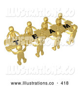"November 11th, 2013: Royalty Free Stock Illustration of a Bright Team of 8 Gold People Holding up Connected Pieces to a Colorful Puzzle That Spells out ""Team,"" Symbolizing Excellent Teamwork, Success and Link Exchanging by 3poD"