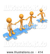 Royalty Free Stock Illustration of a Bright Team of Three Orange People Holding Hands and Standing on Blue Puzzle Pieces, with One Man Reaching out to Connect Another to Their Group by 3poD
