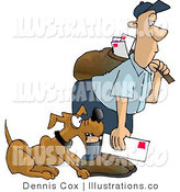 Royalty Free Stock Illustration of a Brown Dog Attacking the Mailman by Djart