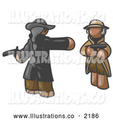 Royalty Free Stock Illustration of a Brown Man Challenging Another to a Duel with Pistils by Leo Blanchette