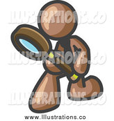 Royalty Free Stock Illustration of a Brown Man Inspecting Something Through a Magnifying Glass by Leo Blanchette