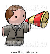 Royalty Free Stock Illustration of a Brunette White Business Man Announcing with a Megaphone by Leo Blanchette