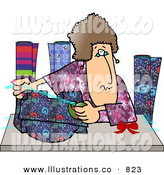 Royalty Free Stock Illustration of a Brunette Woman Gift Wrapping Presents at a Shopping Center by Dennis Cox