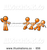 Royalty Free Stock Illustration of a Buff Strong Orange Man Holding One End of Rope While Three Others Pull on the Other Side During Tug of War by Leo Blanchette
