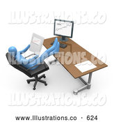 Royalty Free Stock Illustration of a Business Man at a Computer, His Feet Crossed and up on the Desk While Leaning Back and Looking at Graphs by 3poD