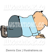 Royalty Free Stock Illustration of a Business Man Moving Forward on His Hands and Knees by Djart
