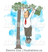 Royalty Free Stock Illustration of a Business Man with a Red Tie Hanging out on a Limb for His Partner - Business Concep by Djart