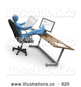 Royalty Free Stock Illustration of a Businessman at a Computer in an Office, His Feet Crossed and up on the Desk While Comparing Graphs by 3poD