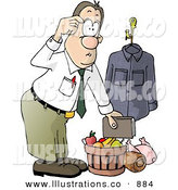 Royalty Free Stock Illustration of a Businessman Bringing Christmas Food Gifts Home from Work by Djart