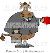 Royalty Free Stock Illustration of a Businessman Brown Cow Carrying a Briefcase and Holding a Red Cup of Coffee by Djart