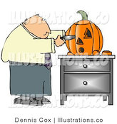 Royalty Free Stock Illustration of a Businessman Carving an Orange Halloween Pumpkin with a Knife by Djart