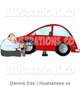 Royalty Free Stock Illustration of a Businessman Changing a Flat Tire on a Red Compact Car by Djart