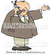 Royalty Free Stock Illustration of a Businessman Chatting on a Cellphone by Djart