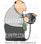 Royalty Free Stock Illustration of a Businessman Criminal Carrying a Ball and Chain That Is Tied Around His Ankle by Djart