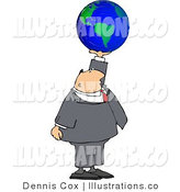 Royalty Free Stock Illustration of a Businessman Holding a Globe of Earth in His Hand - Concept by Djart