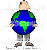 Royalty Free Stock Illustration of a Businessman Holding a Globe of Earth in His Hands - Concept by Djart