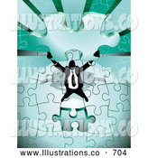 Royalty Free Stock Illustration of a Businessman Holding the Last Green Jigsaw Puzzle Piece Before Completing It by AtStockIllustration