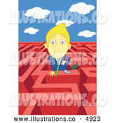 Royalty Free Stock Illustration of a Businessman in a Complex Maze by Mayawizard101