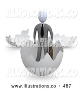 Royalty Free Stock Illustration of a Businessman in an Eggshell by 3poD