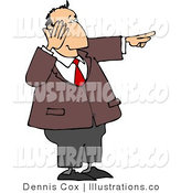 Royalty Free Stock Illustration of a Businessman Laughing While Pointing His Finger at Something to the Right by Djart