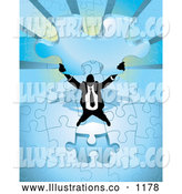 Royalty Free Stock Illustration of a Businessman Office Worker Holding the Last Blue Jigsaw Puzzle Piece Before Completing It by AtStockIllustration