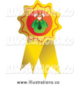 Royalty Free Stock Illustration of a Businessman on a Gold Ribbon by Prawny