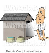 Royalty Free Stock Illustration of a Businessman Peeking out from Inside the Doghouse by Djart