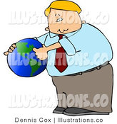 Royalty Free Stock Illustration of a Businessman Pointing out America on a Green and Blue Globe by Djart