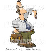 Royalty Free Stock Illustration of a Businessman Pretending to Be Cool Carrying a Briefcase and Gesturing Wazzup with His Hand by Djart