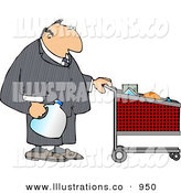 Royalty Free Stock Illustration of a Businessman Pushing a Shopping Cart in a Grocery Store After Work by Djart