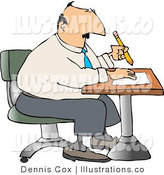 Royalty Free Stock Illustration of a Businessman Sitting at a Desk and Writing on a Piece of Paper with Pencil by Djart