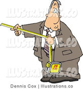 Royalty Free Stock Illustration of a Businessman Using a Self-Retracting Pocket Tape Measure to Measure Something by Djart