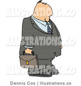 Royalty Free Stock Illustration of a Businessman Wearing Suit and Tie and Carrying a Briefcase, Facing Right by Djart