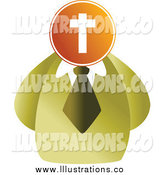 Royalty Free Stock Illustration of a Businessman with a Cross Head by Prawny
