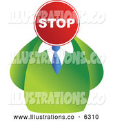 Royalty Free Stock Illustration of a Businessman with a Stop Sign Head by Prawny