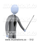 Royalty Free Stock Illustration of a Businessperson, Boss or Manager, Holding a Pointer Stick During a Presentation, Training Class or Meeting by 3poD